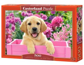 Puzzle Labrador Puppy in Pink Box 500