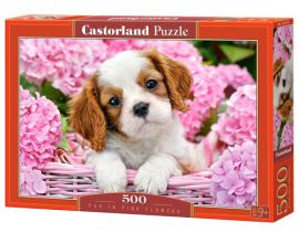 Puzzle Pup in Pink Flowers 500