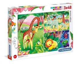Puzzle Supercolor Jungle Friends 3x48