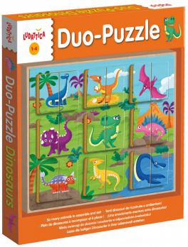Wood -Duo Puzzle Dinosaurs (Dinozaury)